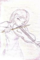 My friend playing the violin by peppermintwind
