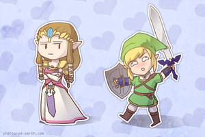 Derpin' Link stalking Zelda by Shattered-Earth