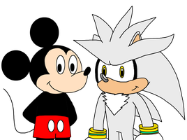Mickey Mouse with Silver the Hedgehog by MarcosLucky96