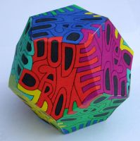 Dodecahedron autoglyph by M-C-Escher-Style