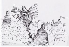 Supes n Bats ink doodle by tarunbanned