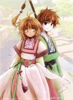 Sakura and Syaoran by Achiru-et-al