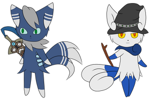 Warrior and Witch Meowstic /w Honedge by DethSnBGaming