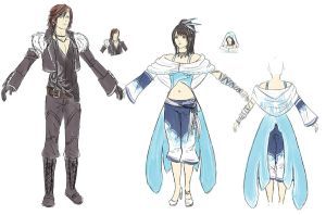 Rinoa and Squall alt costumes by furesiya