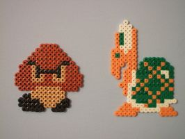 Perler Goomba and Troopa by NES--still-the-best