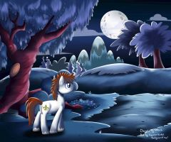 Fleur : walking alone at the Nightfall park by xYarks