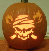 Flamin' Jolly Roger Lit Up by johwee