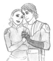 Padme and Anakin - Star Wars Clone Wars sketch by KatyTorres