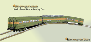 The Peregrine Falcon Articulated Dome Dining Car by dinodanthetrainman