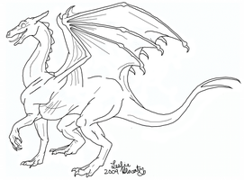 Pernese Dragon Lineart by SilverDragalos