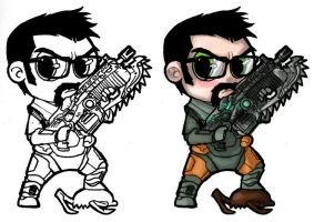 Chibi - Gordon Freeman+Lancer by ElectroCereal