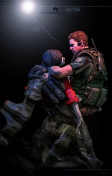 Don't leave me alone!!(Chris and Ada) by kingofshadows26