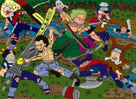 Hawkeye and Zoro vs the Legendary Swordsmen by laguerrt