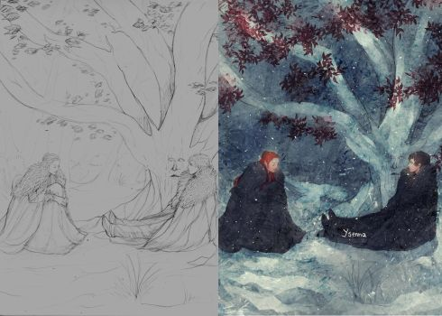Sansa and Bran Wip by Ysenna