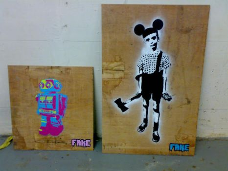 FAKE on WOOD by fakestencils