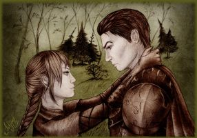 Druid and paladin - art trade by Isbjorg