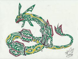 Rayquaza Tribal Tattoo by Skrayle