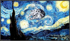 Starry Night with Millennium Falcon by Rabittooth