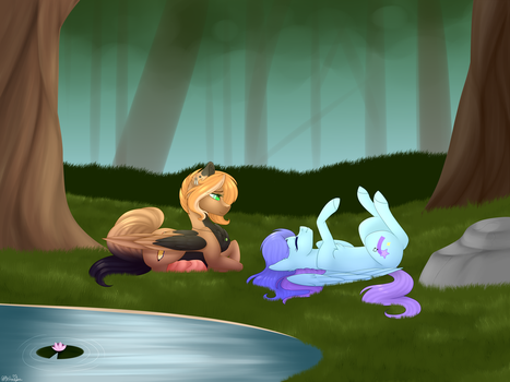 [C] Laying together  by OhHoneyBee