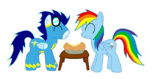 Soarin shares his pie by RorySoarin