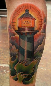 Traditional lighthouse tattoo by jesserix