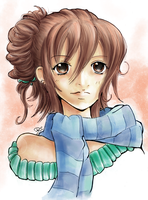 Girl with scarf by Namtia [Colored] by Flyhunter