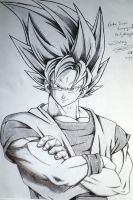 Goku Super Saiyan 2 without Lightning aura by Kawamanimes