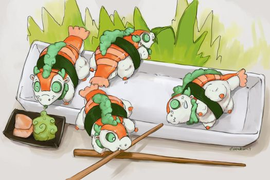 Sushi Dragon Plate by The-SixthLeafClover