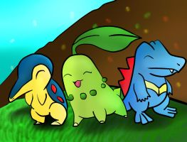 Johto Starters by Cloudy-Darkness