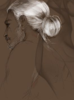Geralt with a bun by olivegbg