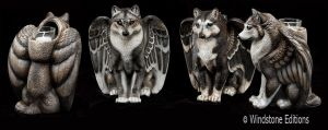 Group of wolf candle lamps by Reptangle