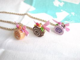 Pastel swiss rolls necklaces by Meow-Box