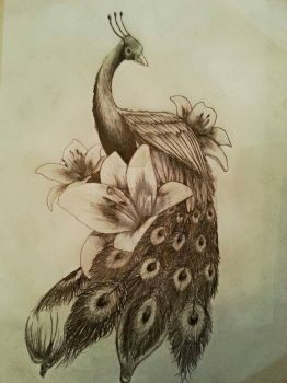 Peacock with Lilies by moggo23