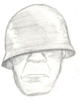 Soldier Head Drawing by Psyche-Clops