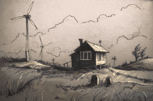 House on fields by Max-Kneht
