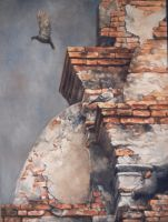 Temple Ruins-Thailand - OIL PAINTING by AstridBruning