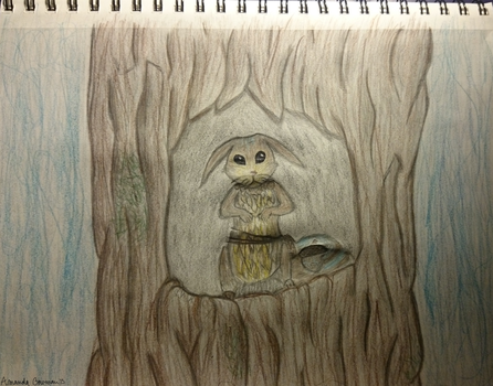 Ratatoskr Hiding in his Tree ~ Pencil by Silverfoxxe