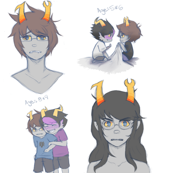 Drawing Dump of some Homestuck OC nerds by ayame-theicequeen