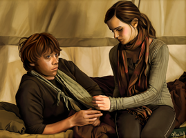 Ron x Hermione, DH by blastedgoose
