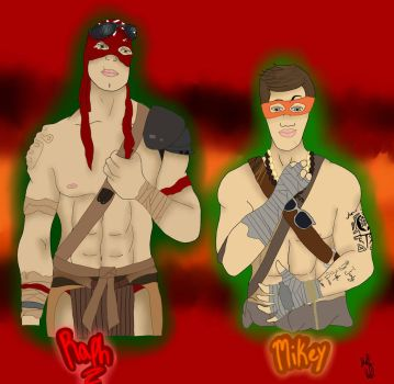 Human Raph and Mikey by Twilightpony4