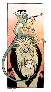 Monkey and lion by iktis