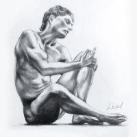Sketch of male nude1 by FyreBirdi