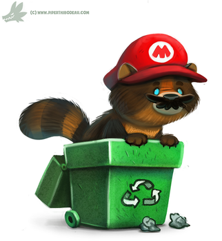 Daily Paint #1041. Tanooki Mario by Cryptid-Creations