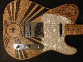 Telecaster Pyrography by DC-Pyrography