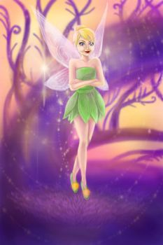 Tinkerbell in the magic forest by narure