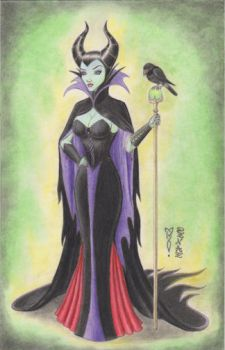 Maleficent with Diablo Original Art by DenaeFrazierStudios