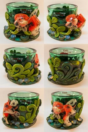 Green Tealight Glass with Veiltail Goldfish by spaceship505