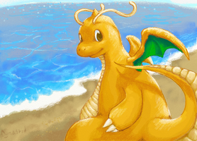 Sun Rays and Waves Dragonite