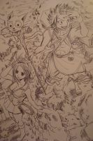 Fairy Tail Volume 1 cover (line art) by Highway3
