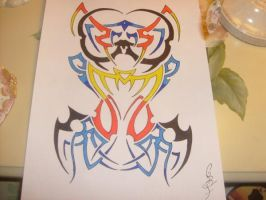 custom colourful tribal design (my favourite) by gbftattoos